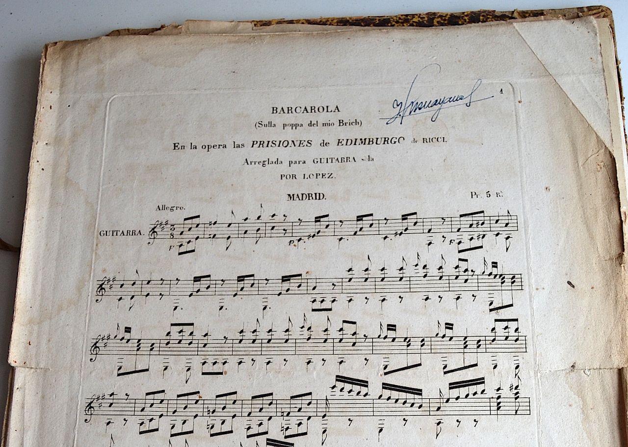 Barcarola da ópera de Ricci arranjada por López, edição das décadas centrais do séc. XIX. © 2021 by Isabel Rei Samartim.