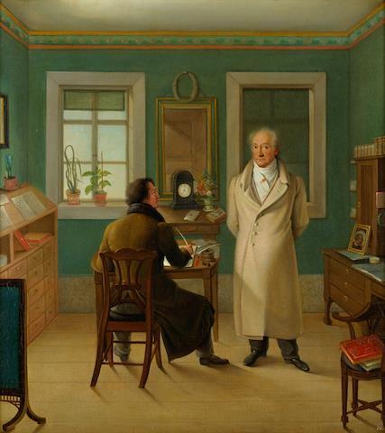 Johann Joseph Schmeller, Goethe en su estudio dictando a su secretario John (1834). © Klassik Stiftung Weimar, Herzogin Anna Amalia Bibliothek.