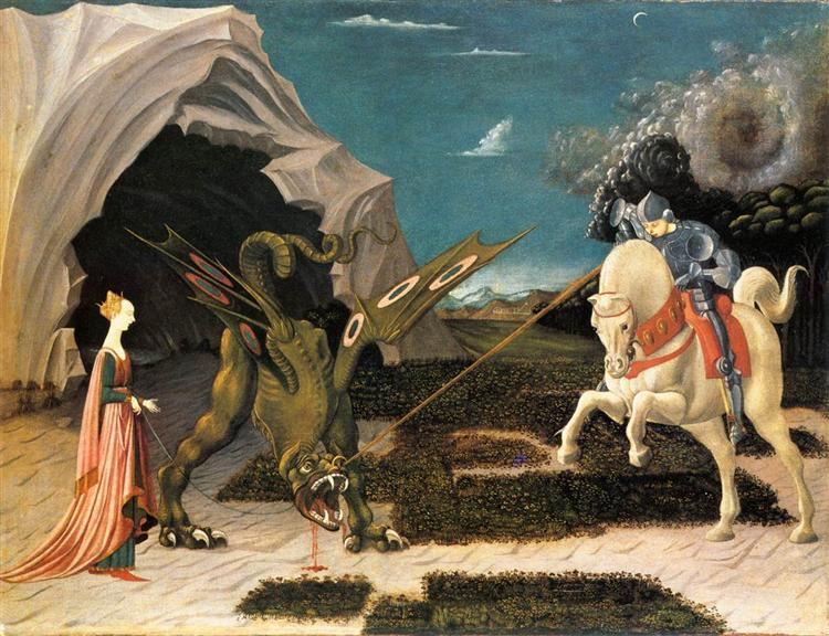 Paolo Uccello, San Jorge y el dragón (ca 1470). © Dominio público. The National Gallery.